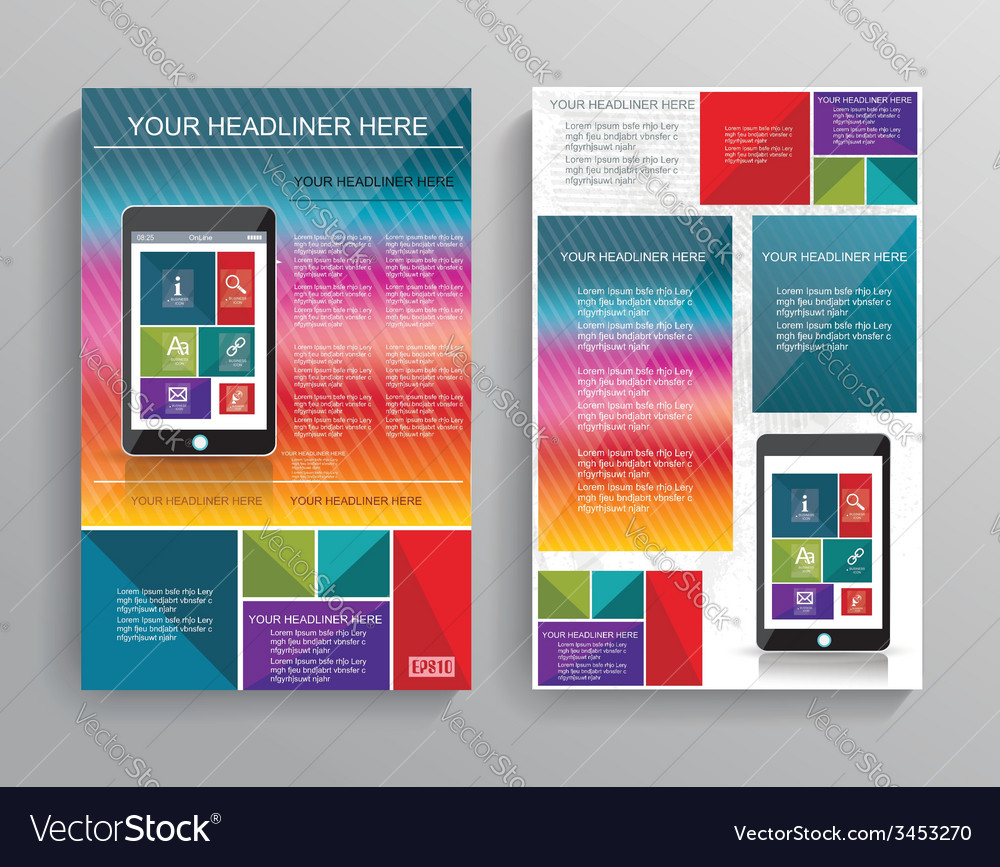 Brochure template design with smart phone vector | Price: 1 Credit (USD $1)