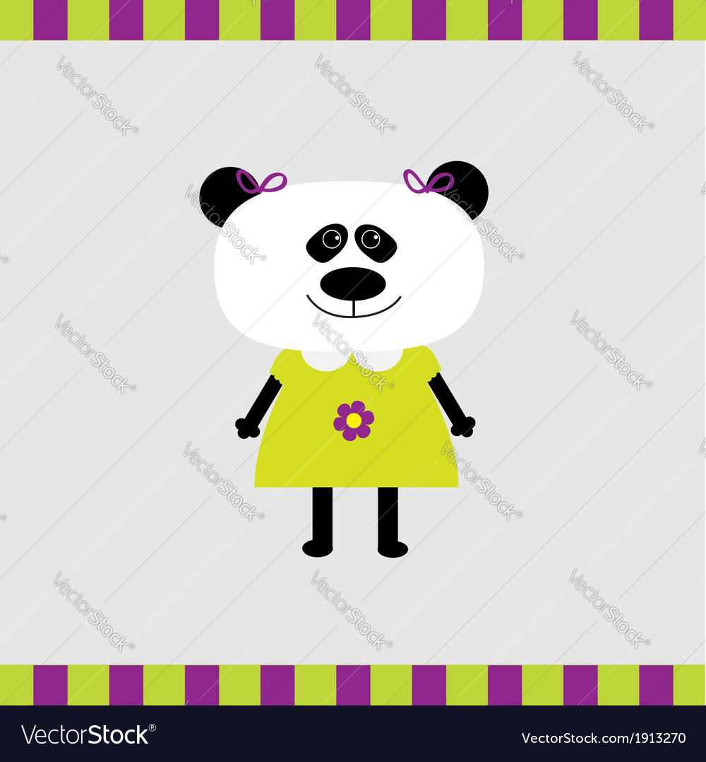 Cartoon panda girl card vector | Price: 1 Credit (USD $1)