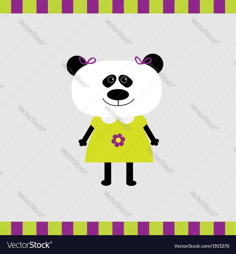 Cartoon panda girl card vector | Price: 1 Credit (USD $1)
