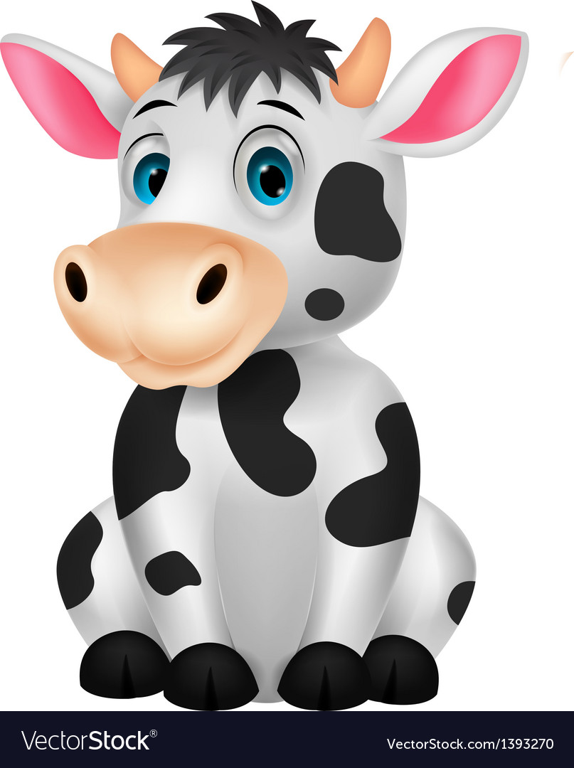 Cute cow cartoon sitting vector | Price: 3 Credit (USD $3)
