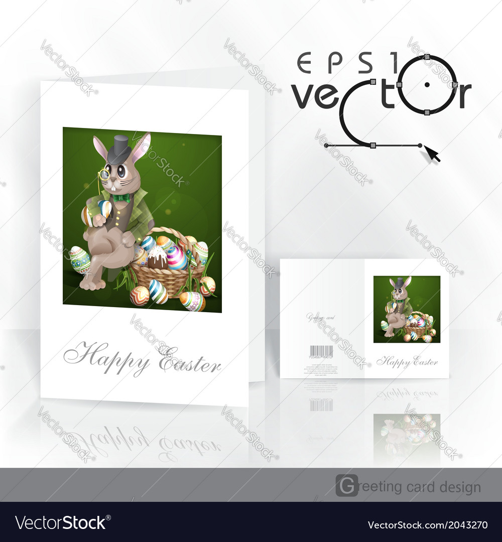 The easter bunny with a basket vector | Price: 1 Credit (USD $1)