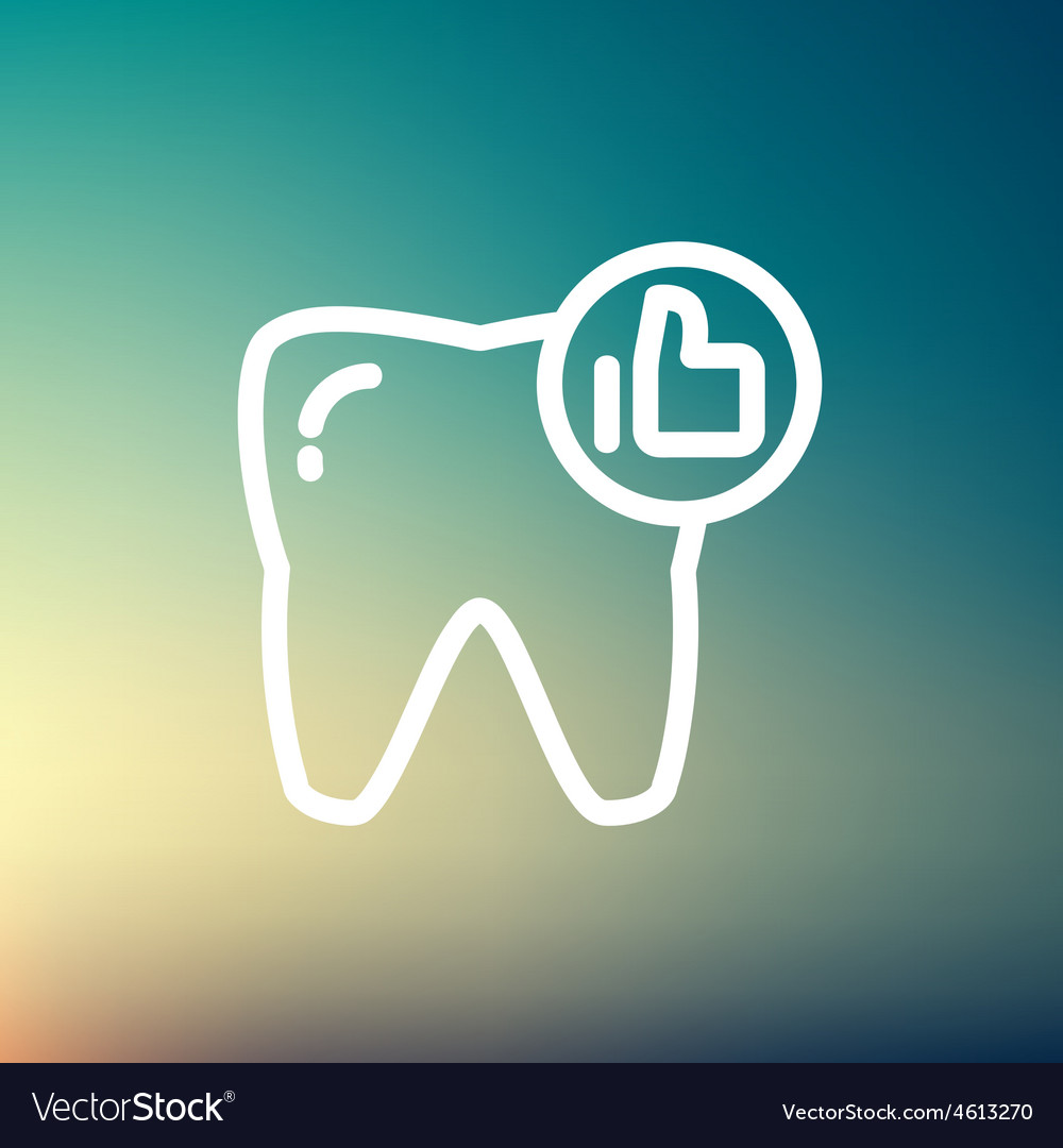 Healthy tooth thin line icon vector | Price: 1 Credit (USD $1)