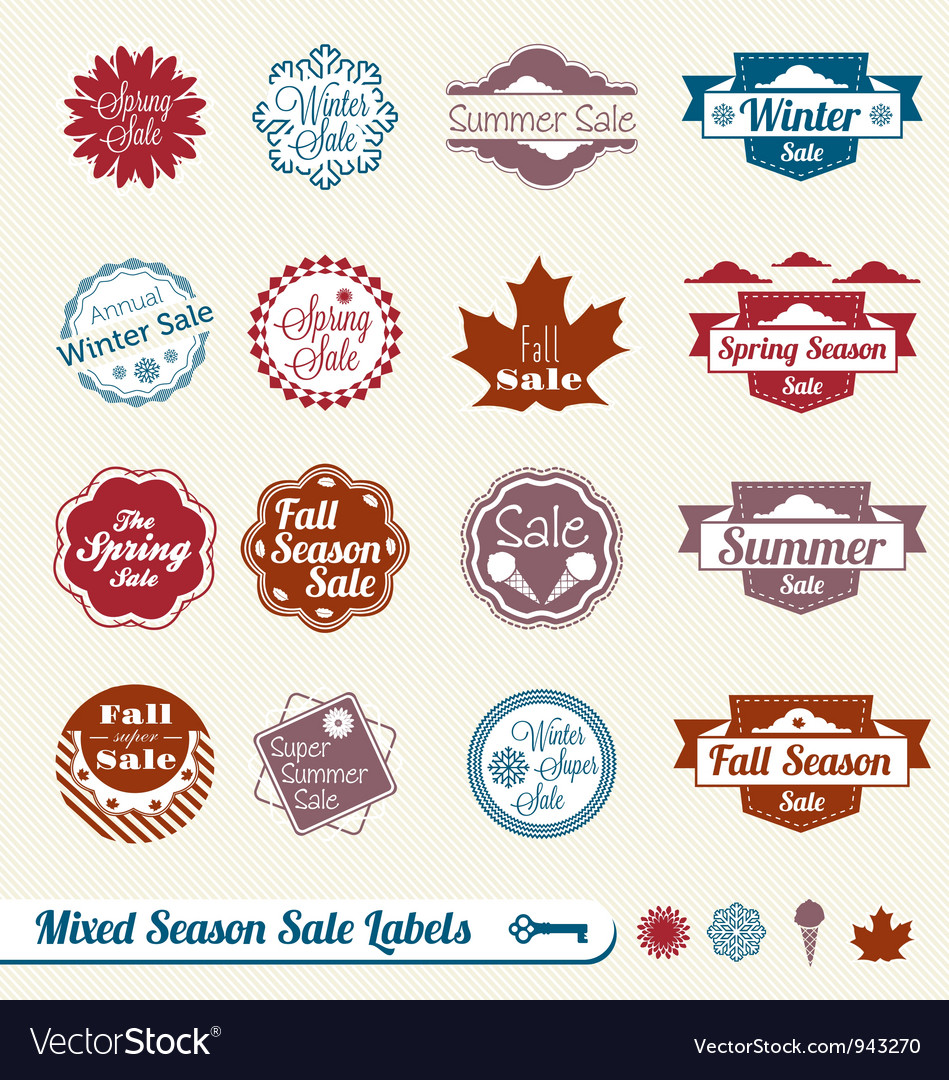 Mixed season sale labels vector | Price: 1 Credit (USD $1)