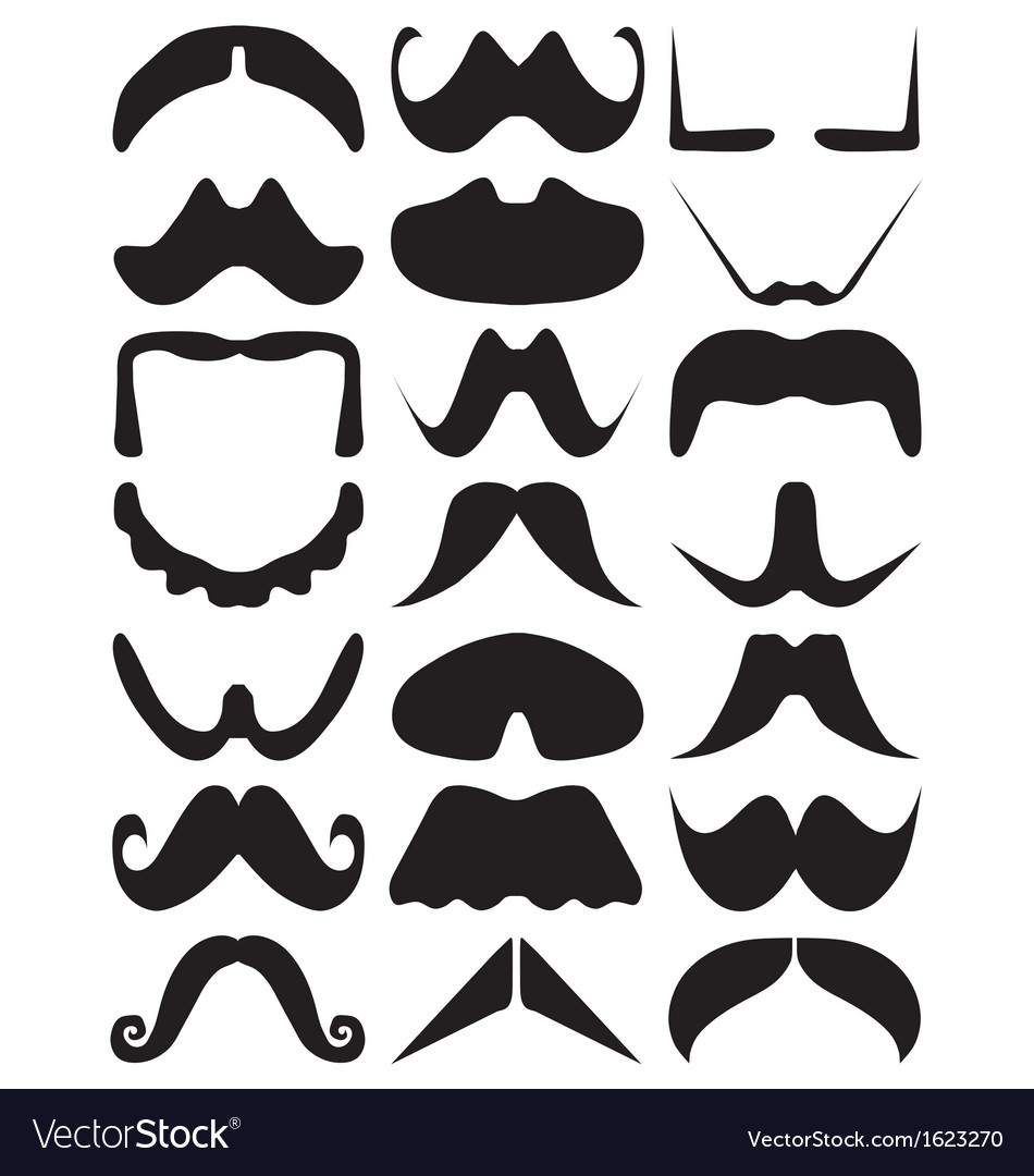 Moustache silhouettes vector | Price: 1 Credit (USD $1)