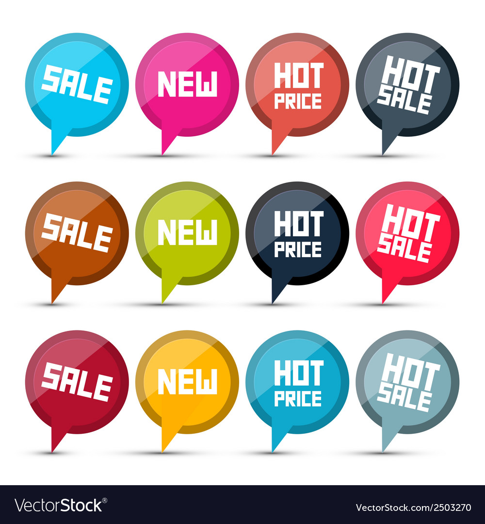 Sale labels set on white background vector | Price: 1 Credit (USD $1)