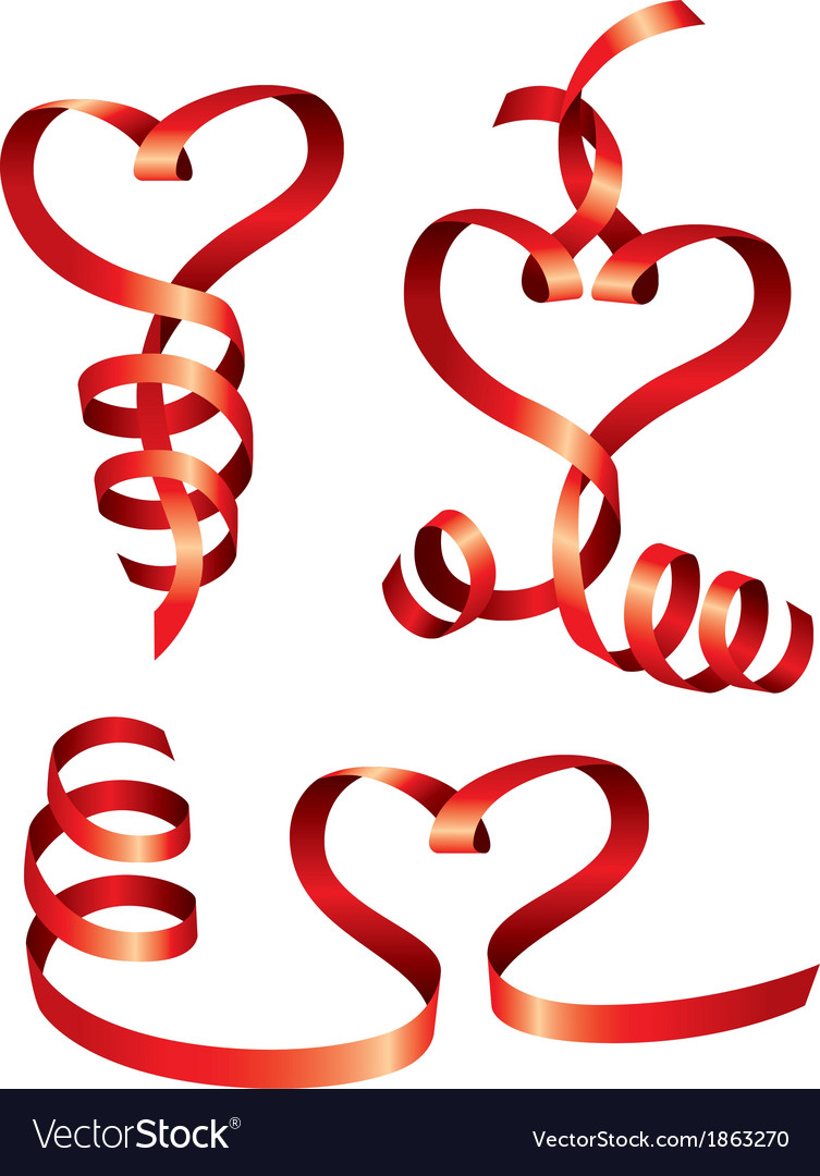 Satin hearts of red ribbons vector | Price: 1 Credit (USD $1)