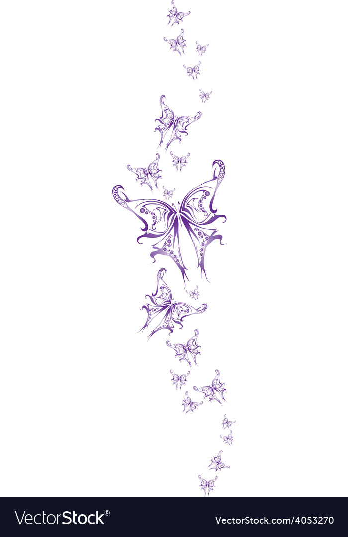 Set butterflys blue tattoo vector | Price: 1 Credit (USD $1)