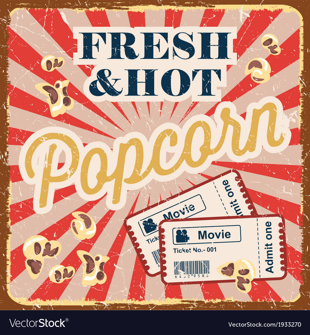 Vintage style poster with popcorn vector | Price: 1 Credit (USD $1)