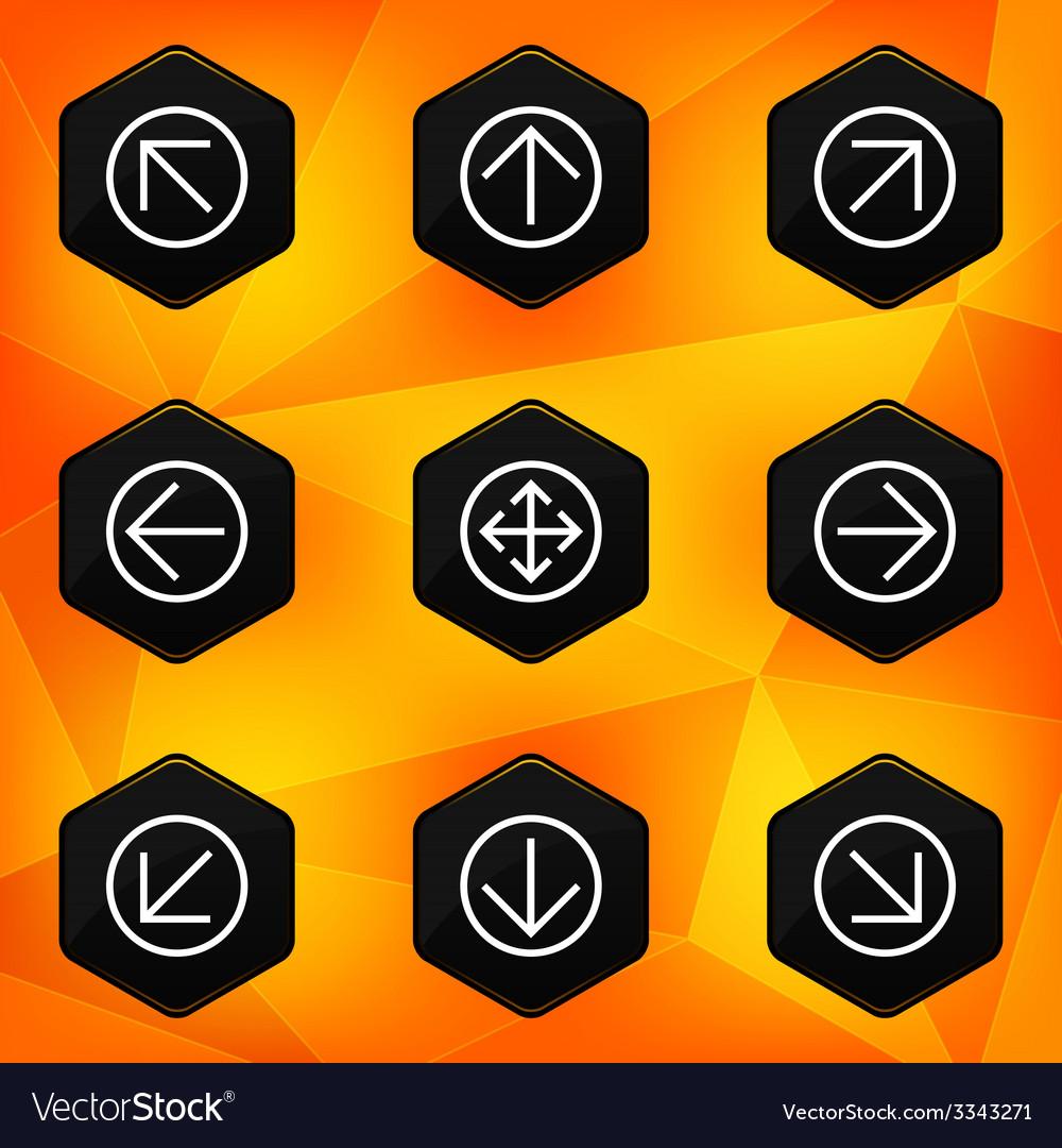 Arrow hexagonal icons set on abstract orange vector | Price: 1 Credit (USD $1)
