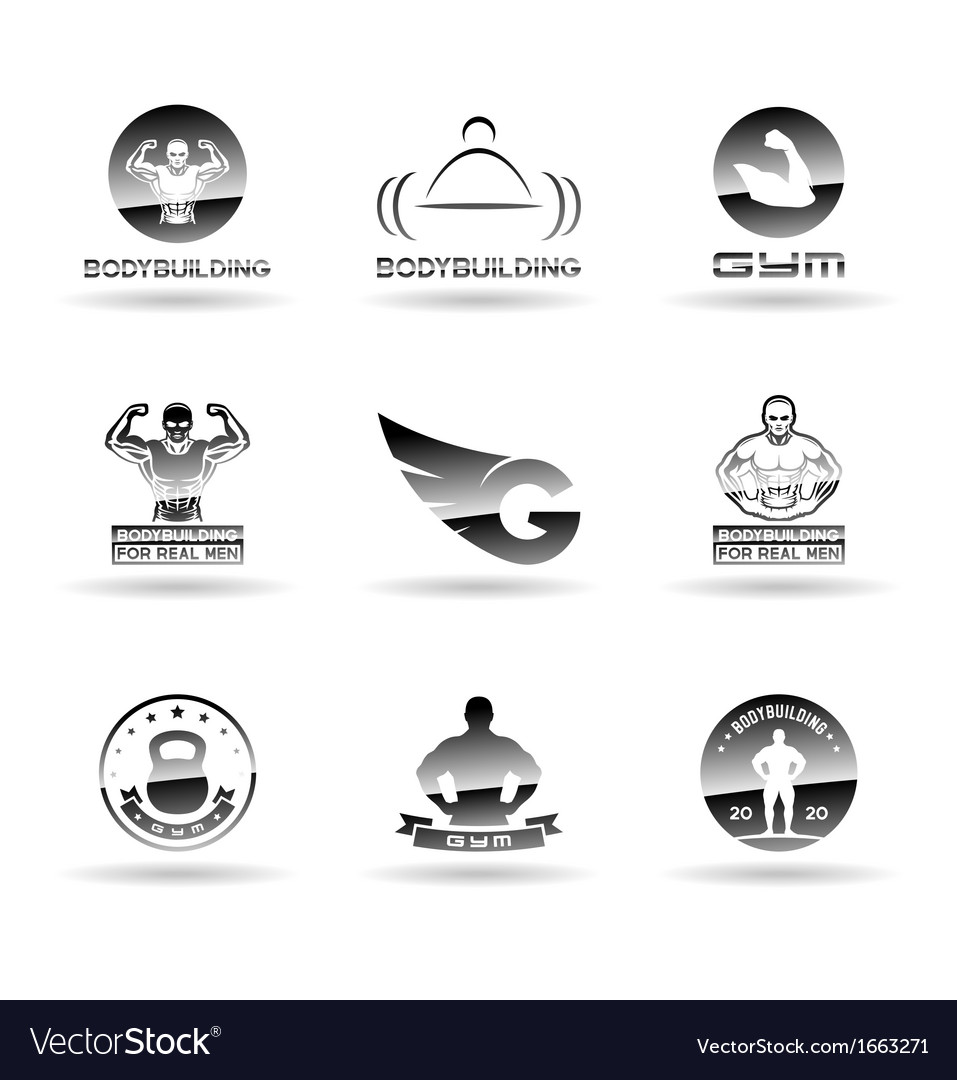 Bodybuilding icons set vector   Price: 1 Credit (USD $1)
