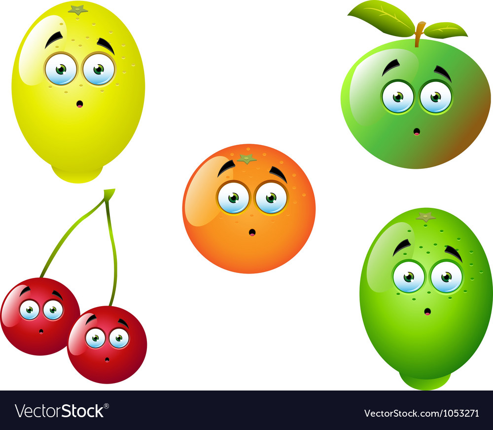 Cartoon fruit set 9 vector | Price: 1 Credit (USD $1)