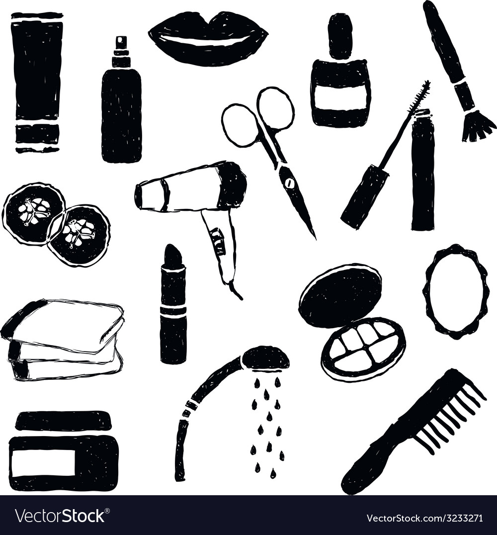Doodle cosmetics images vector | Price: 1 Credit (USD $1)