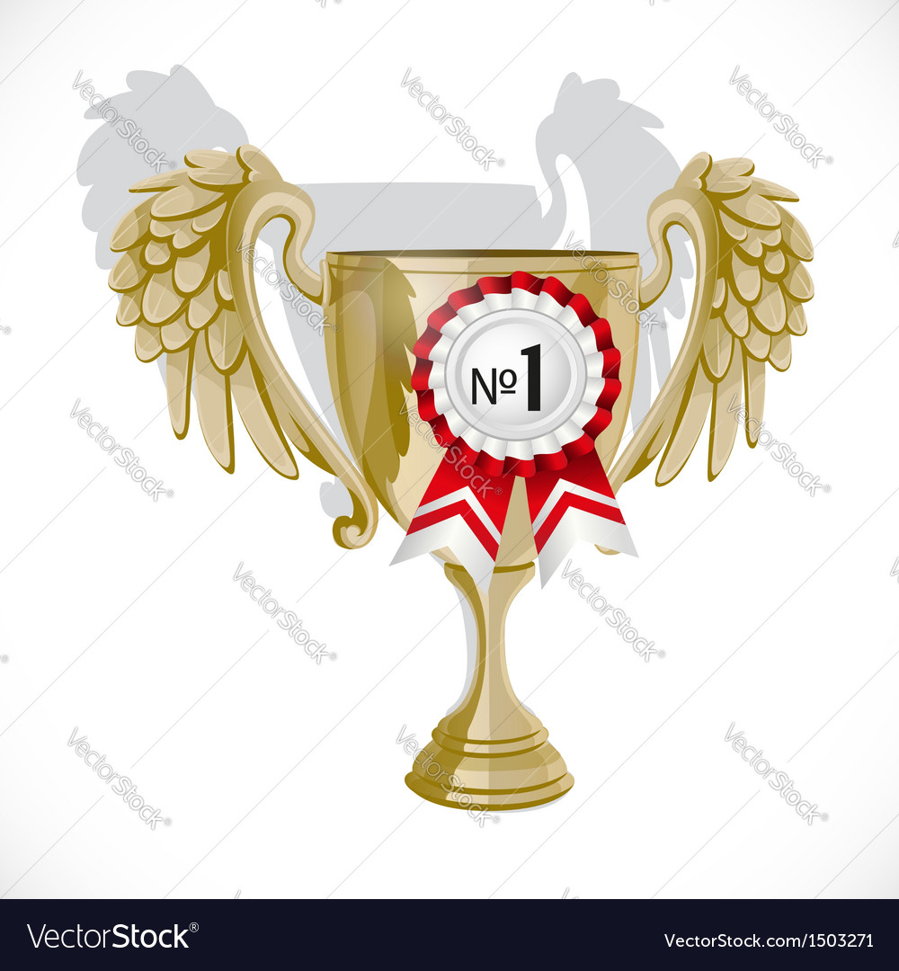 Goblet winner with rosette isolated on white vector | Price: 1 Credit (USD $1)