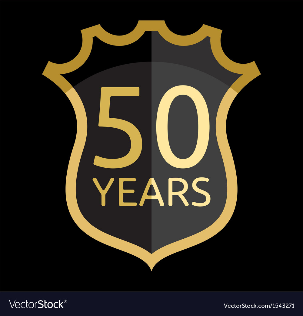 Golden shield 50 years vector | Price: 1 Credit (USD $1)