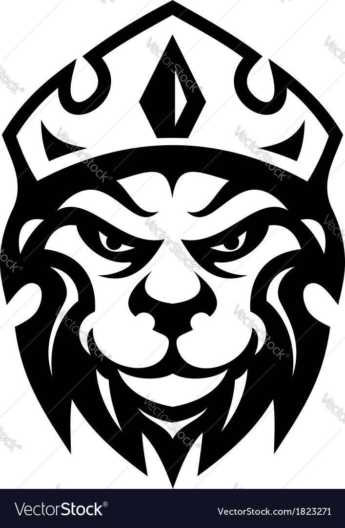 Head of a fierce crowned lion vector | Price: 1 Credit (USD $1)