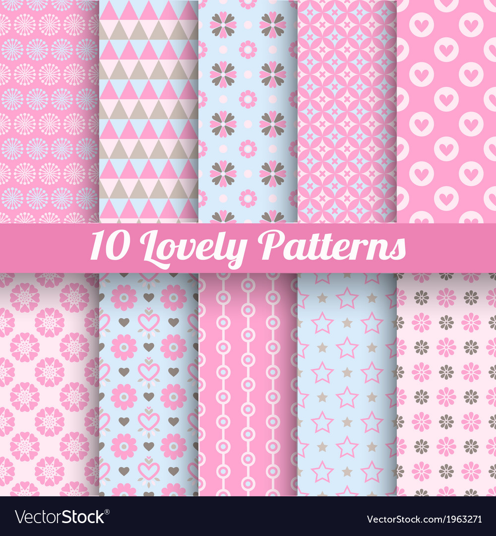 Lovely seamless patterns tiling with swatch vector | Price: 1 Credit (USD $1)