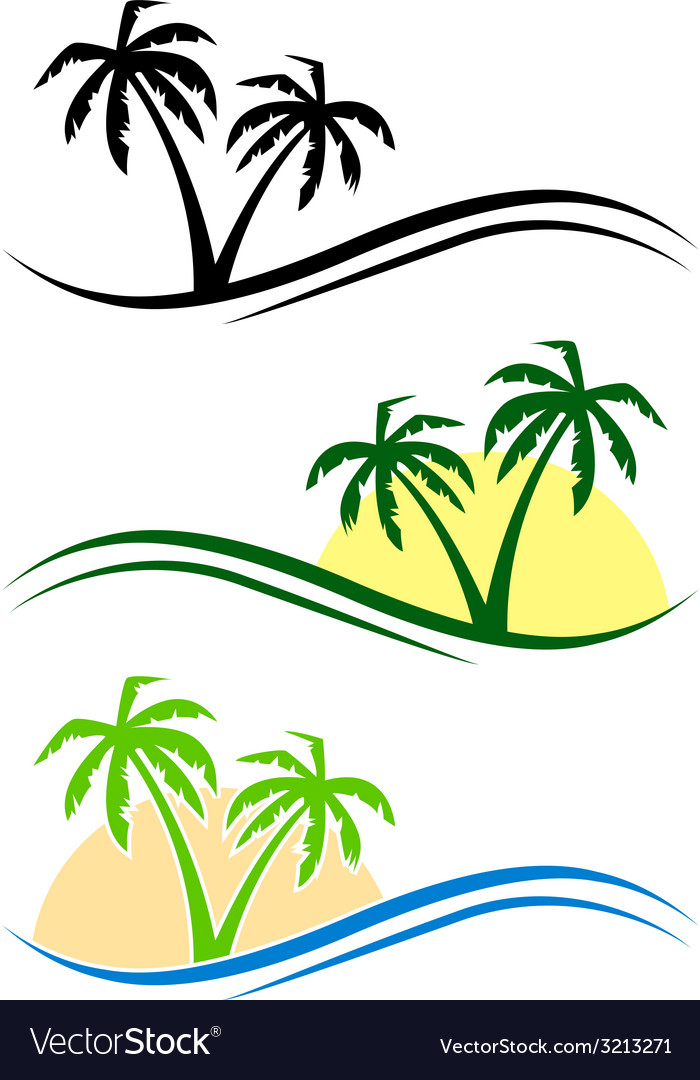 Palms set vector | Price: 1 Credit (USD $1)