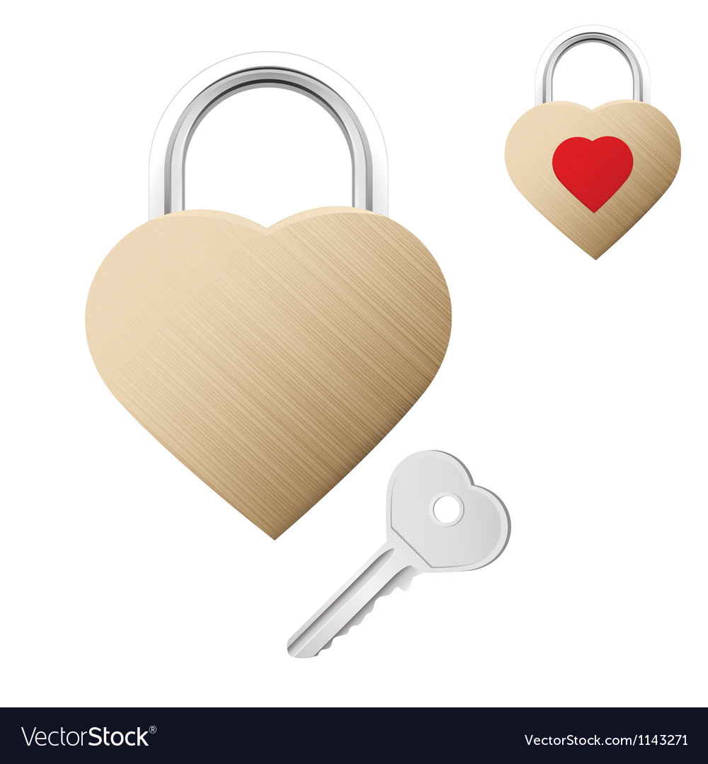 Realistic looking gold lock shaped as heart vector | Price: 1 Credit (USD $1)