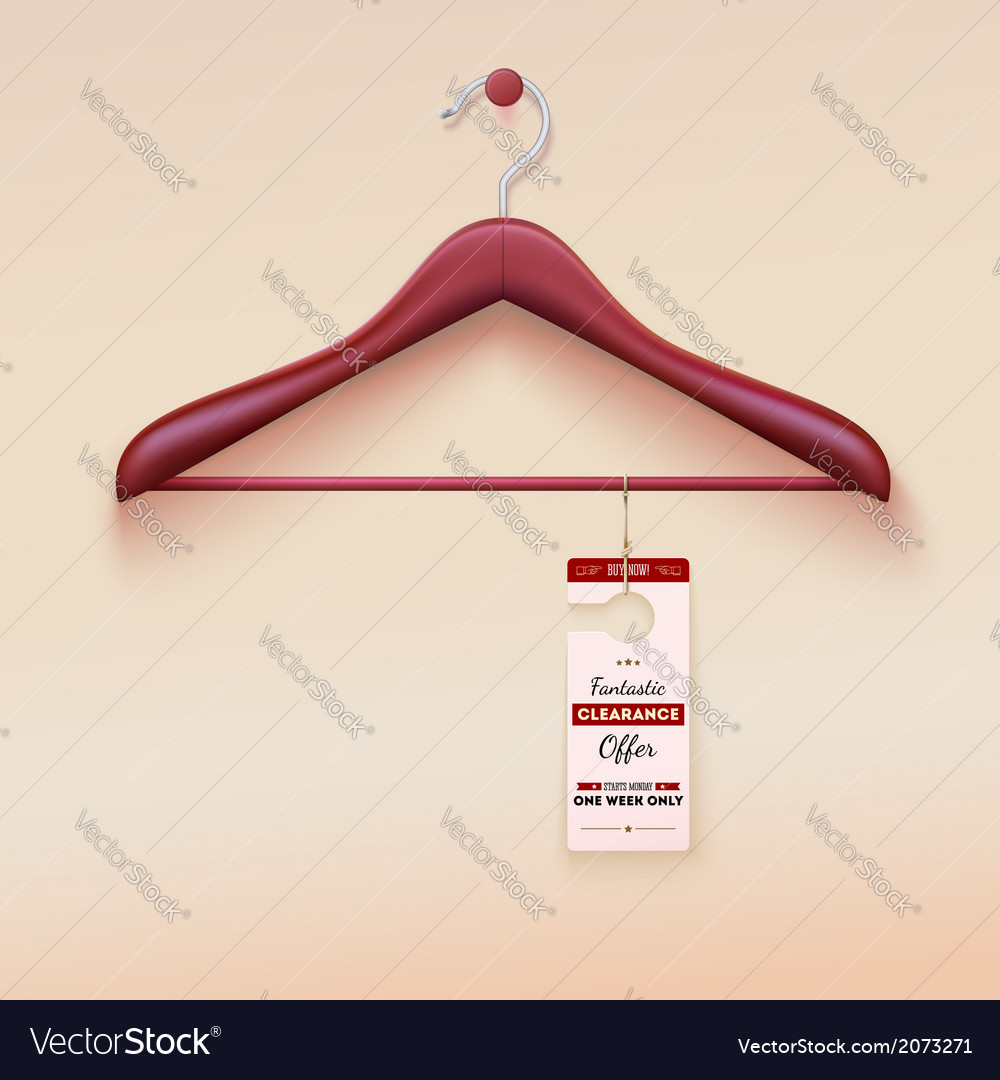 Red tag with special offer sign wooden hanger vector | Price: 1 Credit (USD $1)