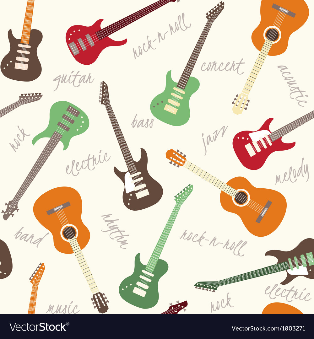 Seamless pattern with guitars and text vector | Price: 1 Credit (USD $1)
