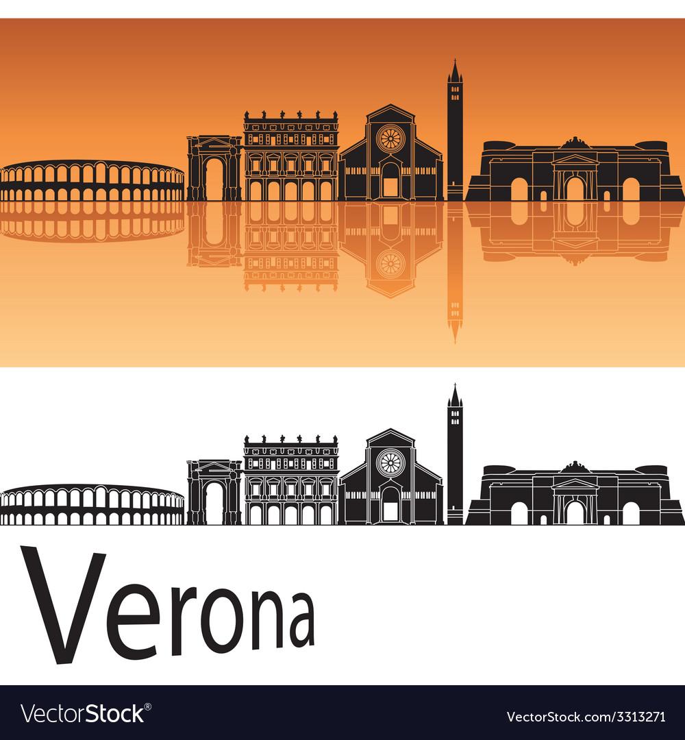Verona skyline in orange background vector