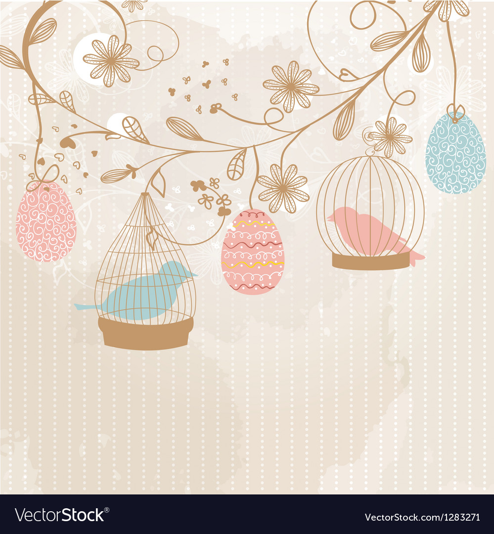 Vintage card with two cute birds in retro cages vector | Price: 1 Credit (USD $1)