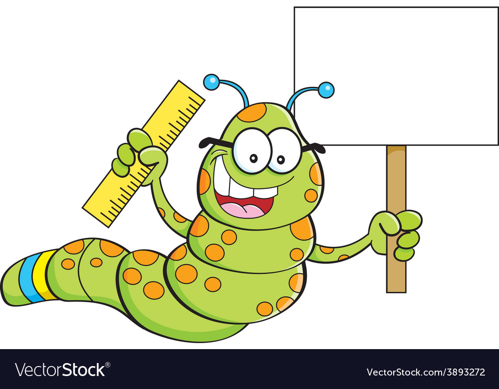 Cartoon inch worm holding a sign and a ruler vector | Price: 1 Credit (USD $1)