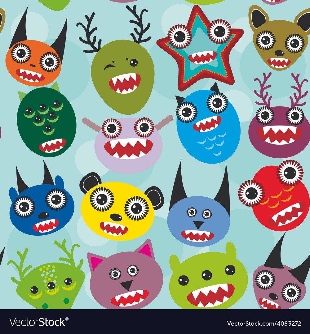 Cute cartoon muzzle monsters seamless pattern on vector | Price: 1 Credit (USD $1)