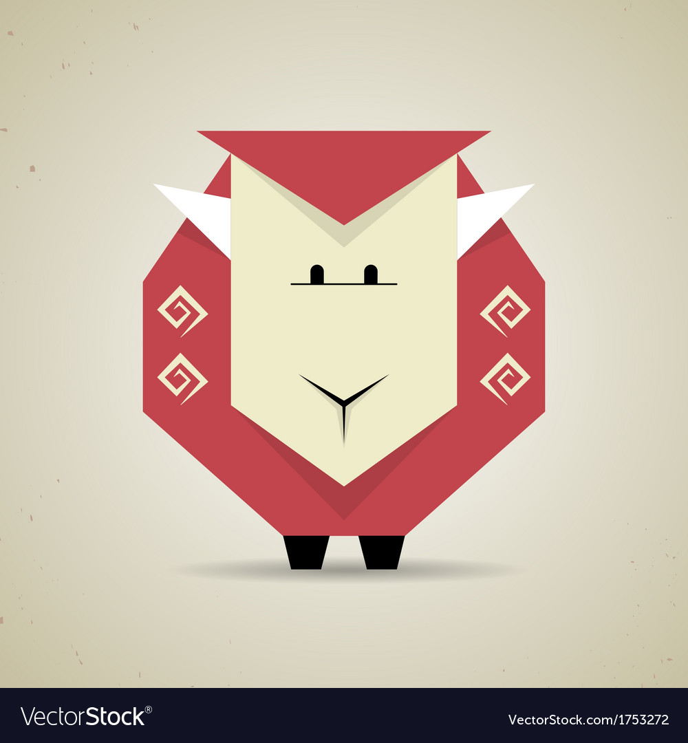 Cute origami geometric sheep from folded paper vector | Price: 1 Credit (USD $1)