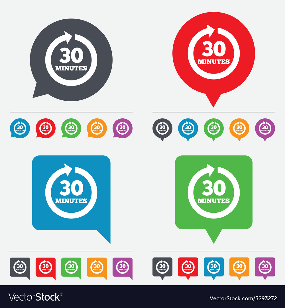 Every 30 minutes sign icon full rotation arrow vector | Price: 1 Credit (USD $1)