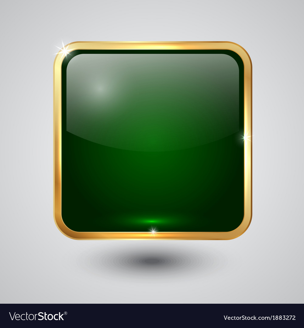 Glass square button with round corners and golden vector | Price: 1 Credit (USD $1)
