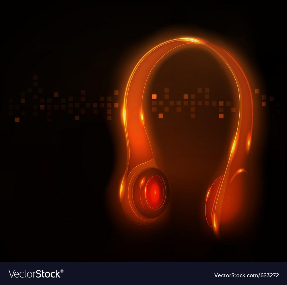 Glowing headphone vector | Price: 1 Credit (USD $1)