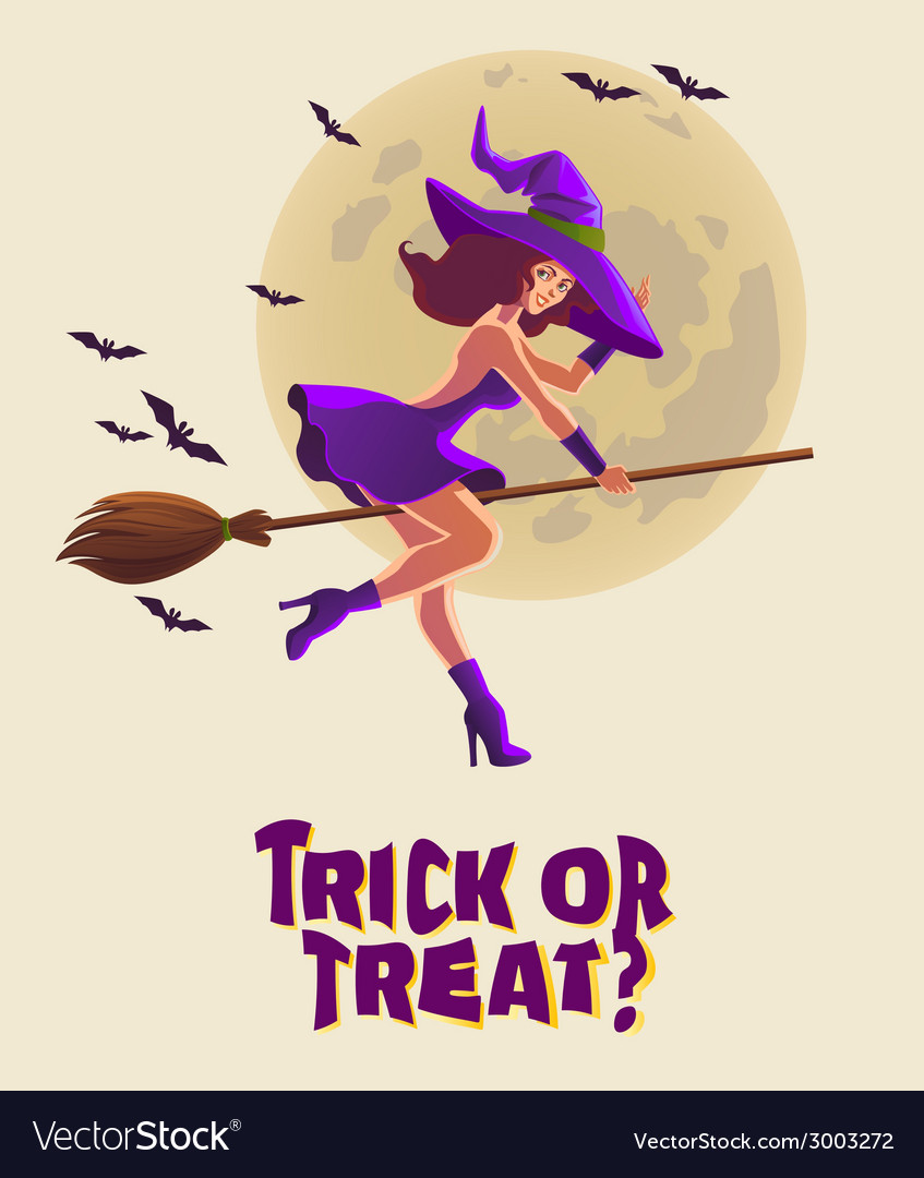 Halloween with witch on broom vector | Price: 3 Credit (USD $3)