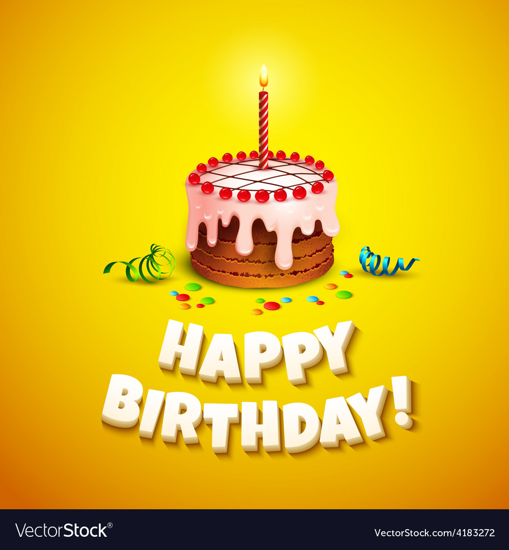 Happy birthday greeting card with cake vector | Price: 3 Credit (USD $3)