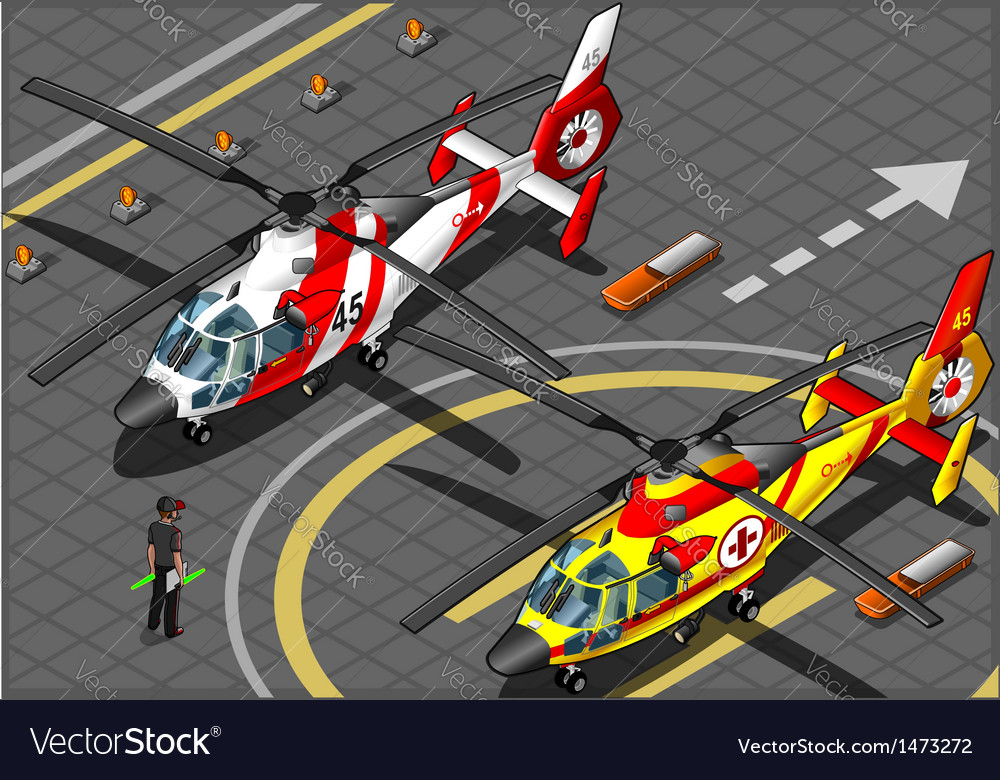 Isometric emergency helicopters in front view vector | Price: 1 Credit (USD $1)