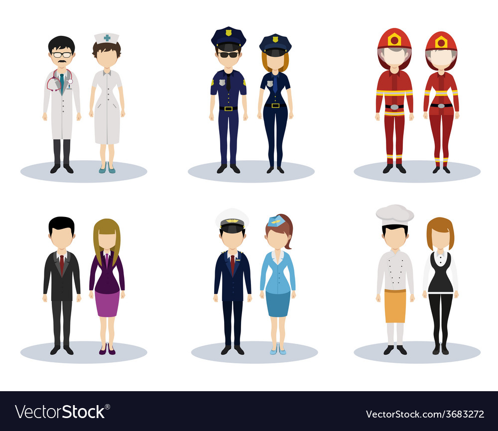 Male and female professional character set vector | Price: 1 Credit (USD $1)