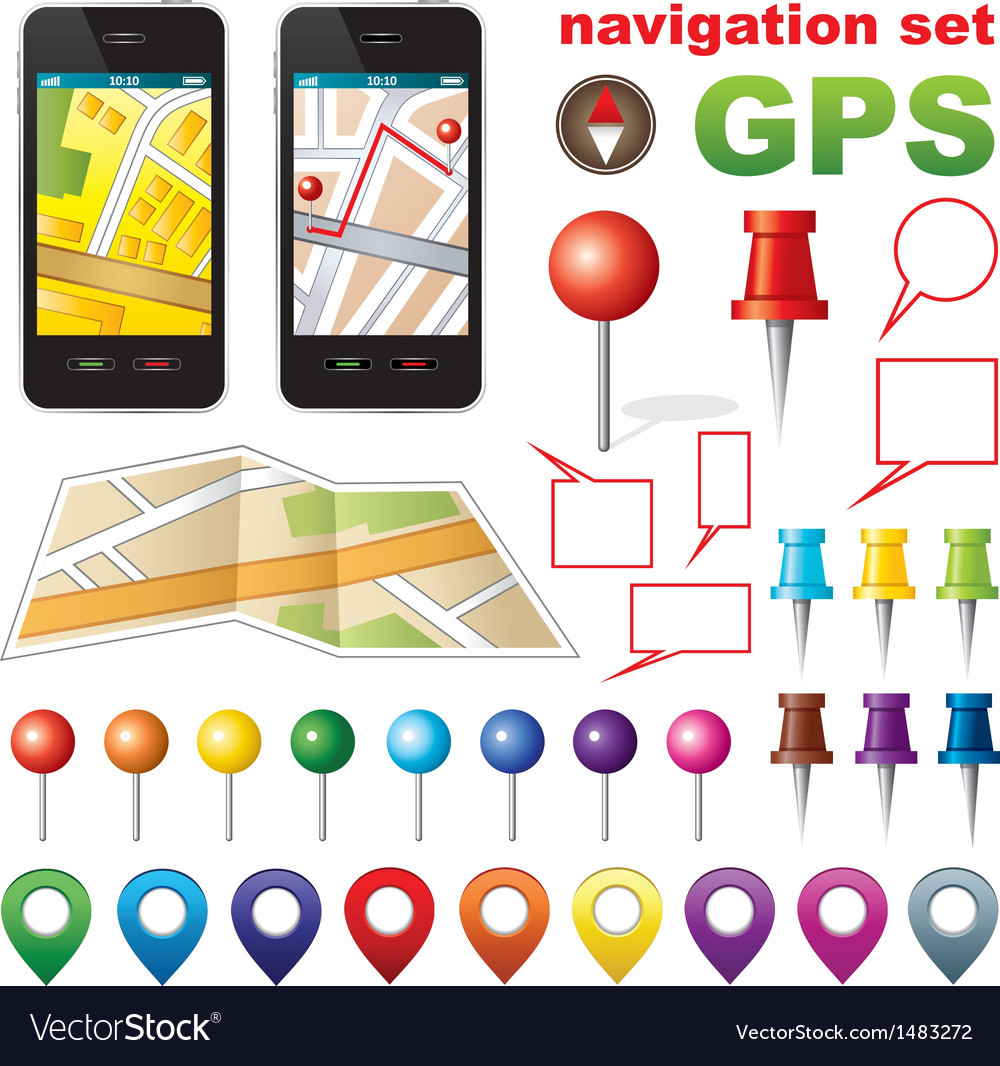 Navigation set with icons gps vector | Price: 1 Credit (USD $1)