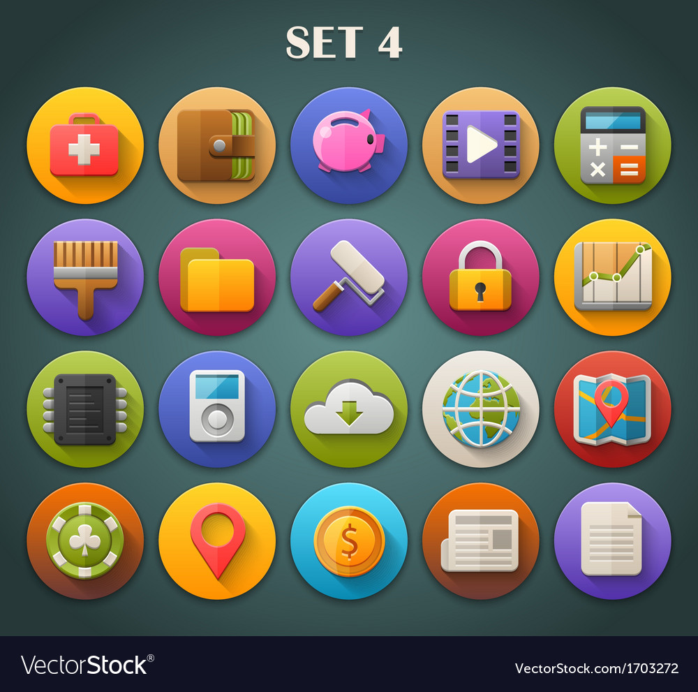 Round bright icons with long shadow set 4 vector | Price: 1 Credit (USD $1)