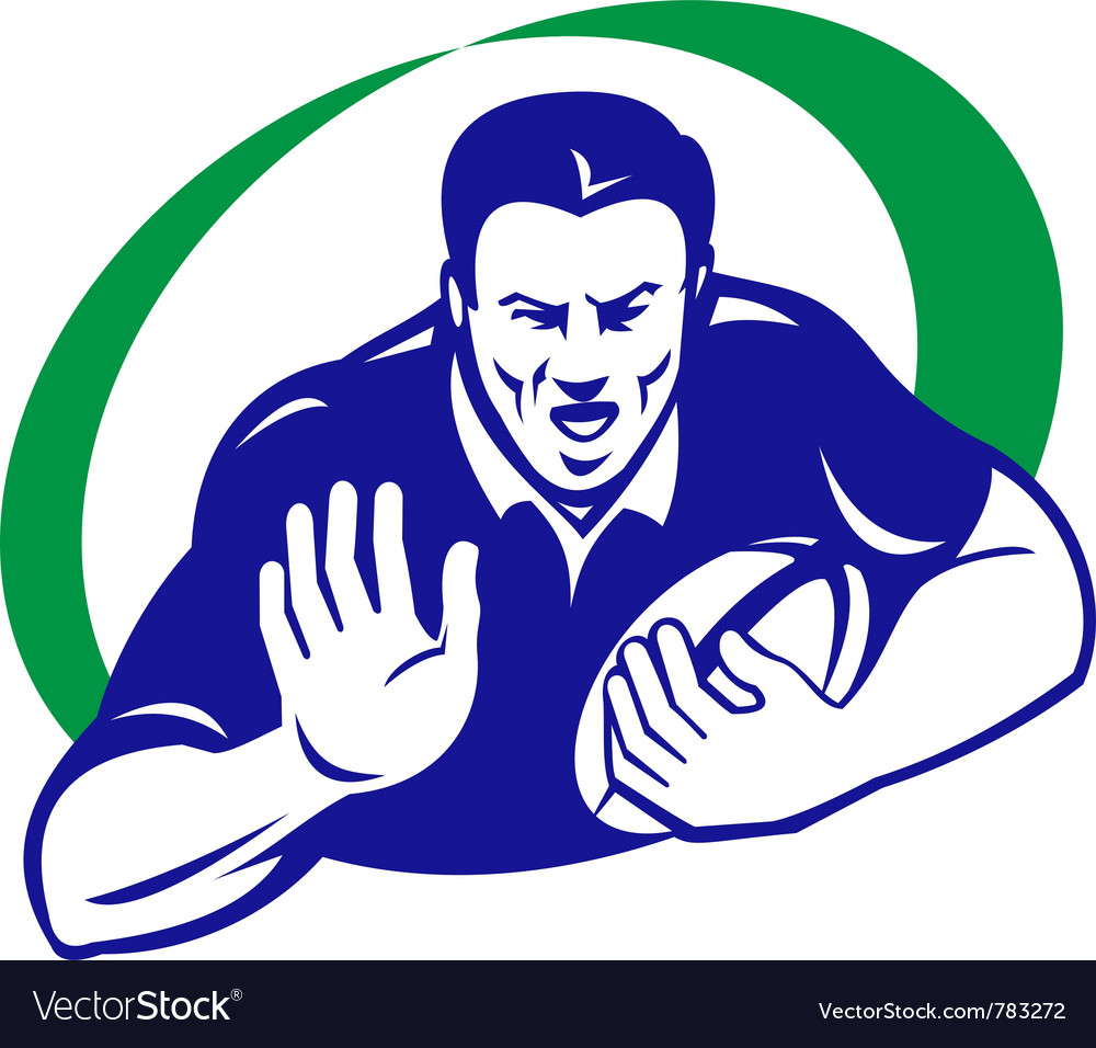 Rugby player with ball fending off vector | Price: 1 Credit (USD $1)
