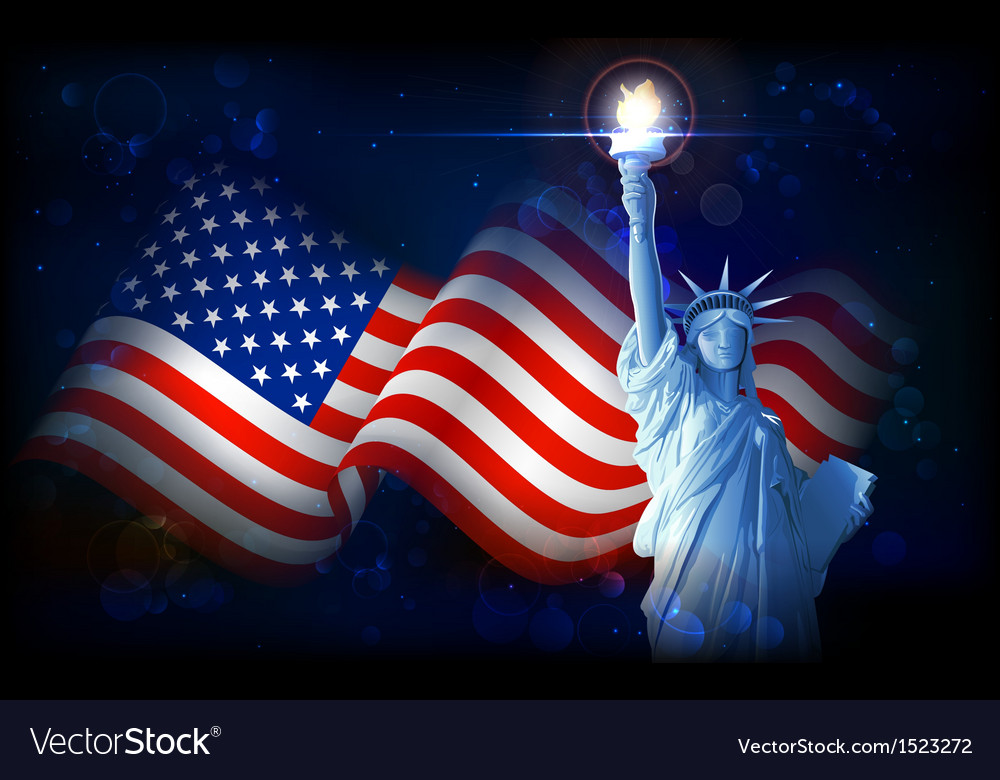 Statue of liberty with american flag vector | Price: 3 Credit (USD $3)