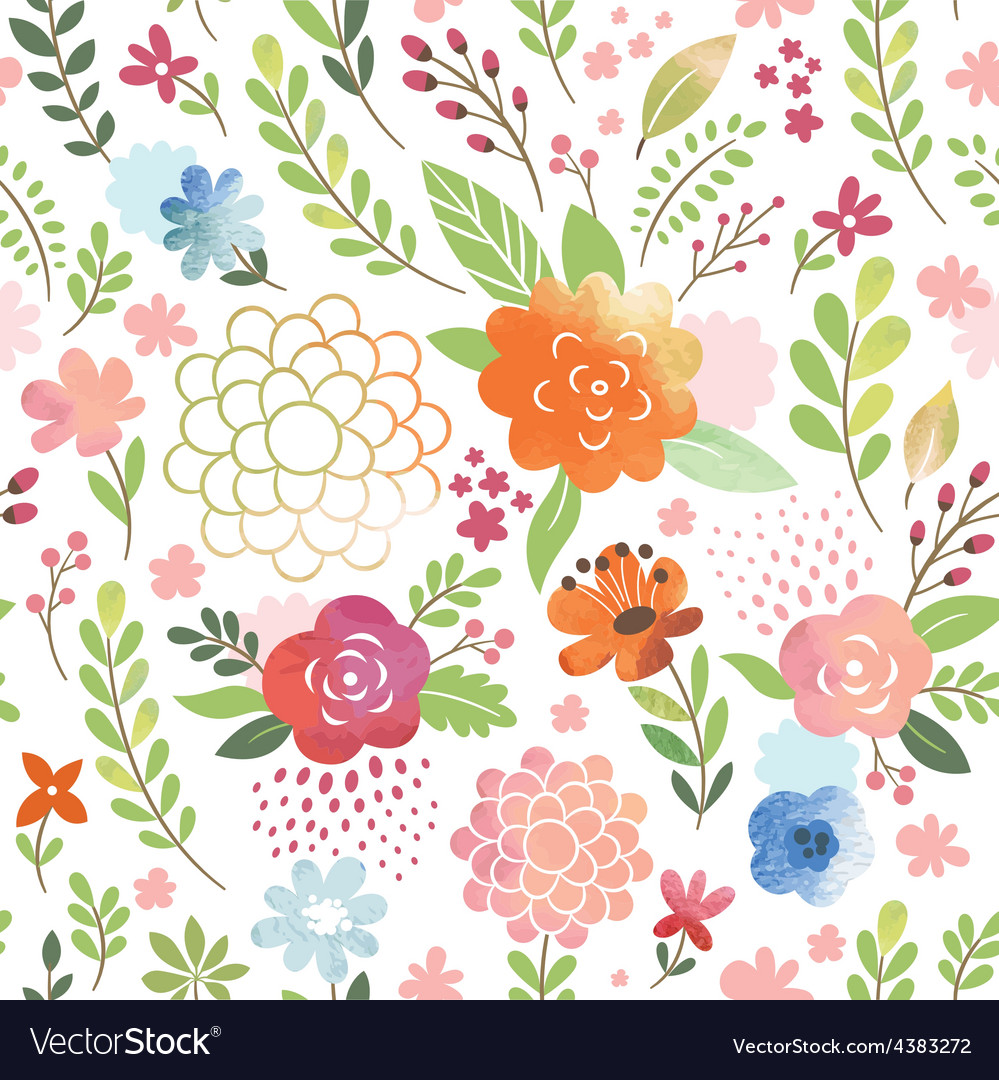 Watercolor seamles floral pattern vector | Price: 1 Credit (USD $1)