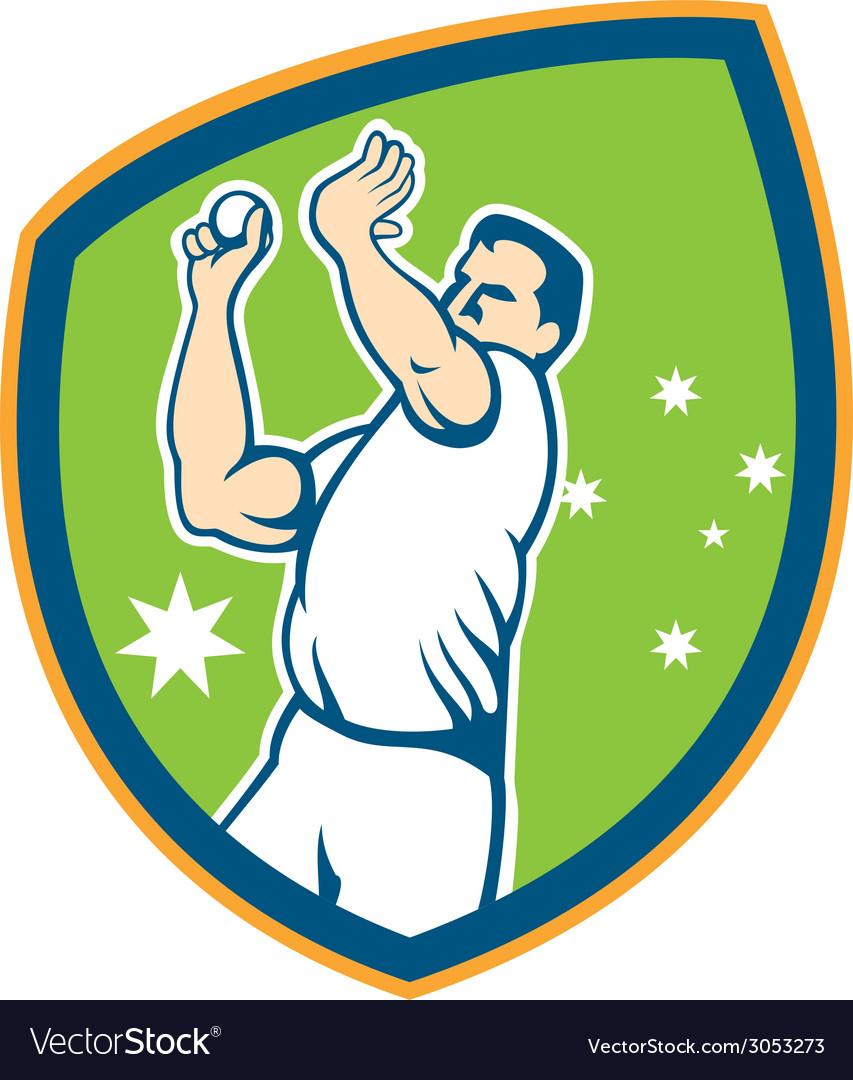 Australian cricket fast bowler bowling ball shield vector | Price: 1 Credit (USD $1)