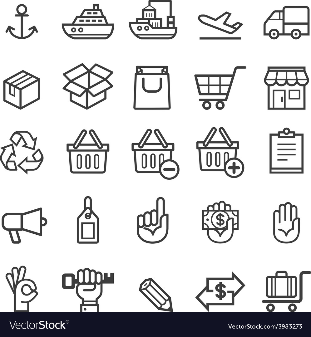 Business transportation element icons vector | Price: 1 Credit (USD $1)