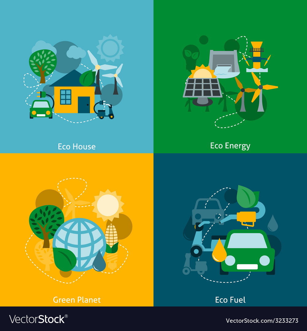 Eco energy flat icons composition vector | Price: 1 Credit (USD $1)