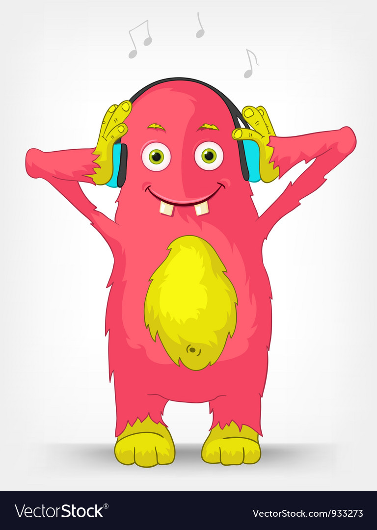 Funny monster listening to music vector   Price: 1 Credit (USD $1)