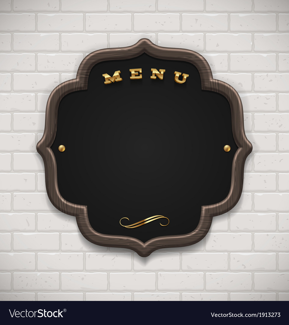Menu chalkboard with wooden frame on white brick vector | Price: 1 Credit (USD $1)
