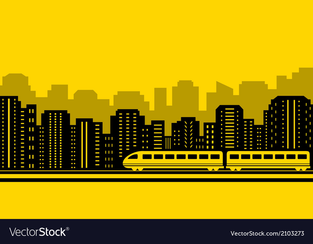 Passenger train on city background vector | Price: 1 Credit (USD $1)