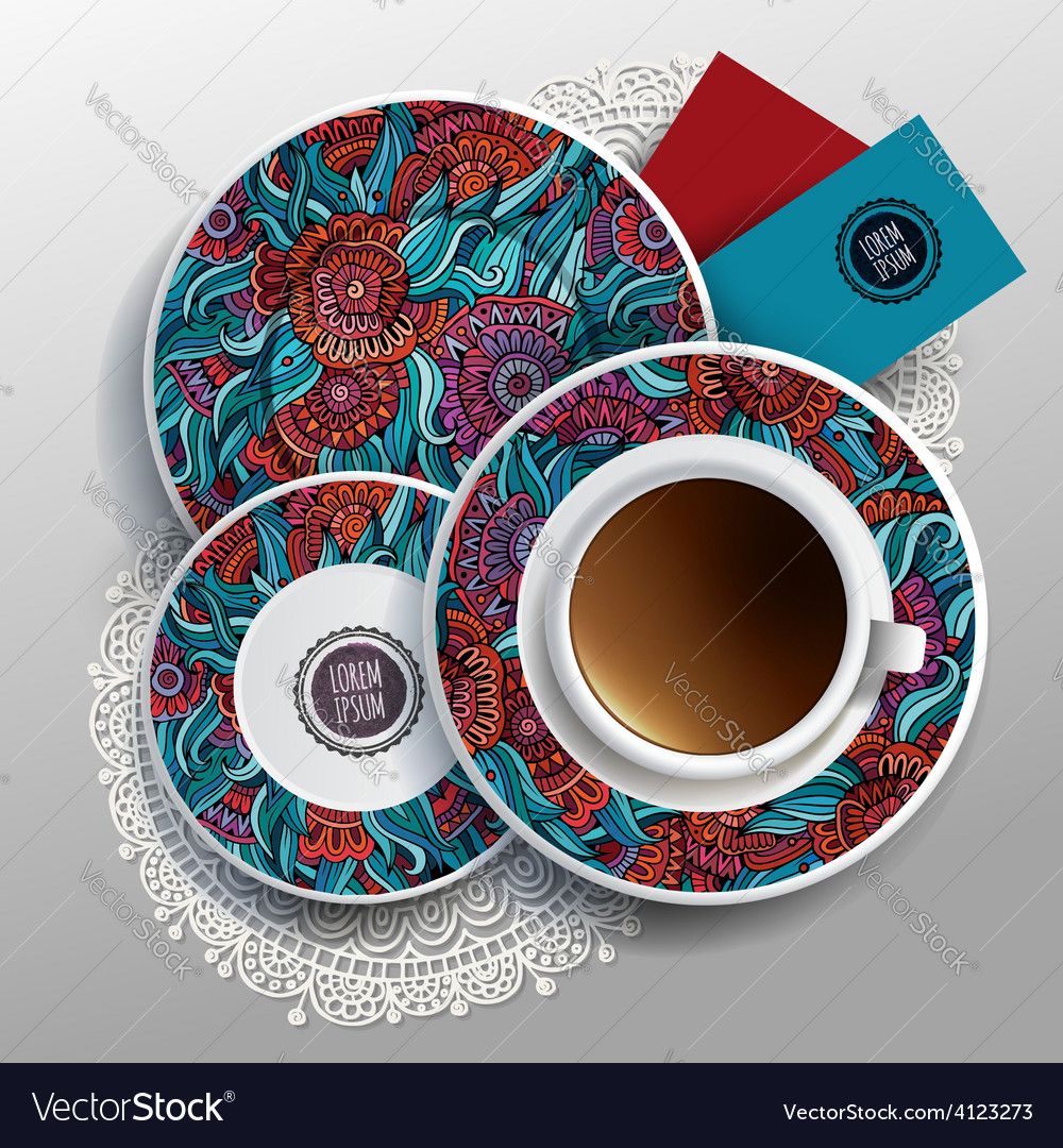 Plates and cup of coffee vector | Price: 3 Credit (USD $3)