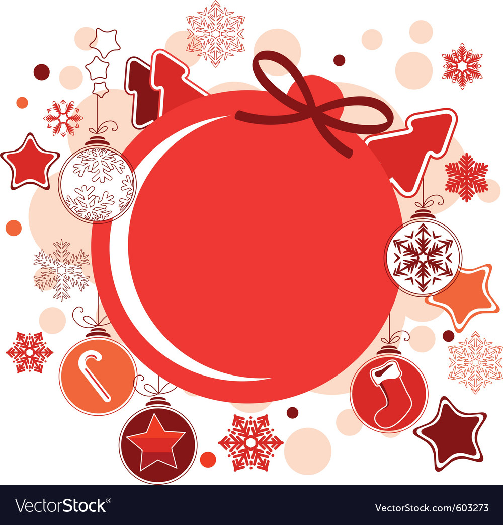 Round christmas label with balls and stars vector | Price: 1 Credit (USD $1)