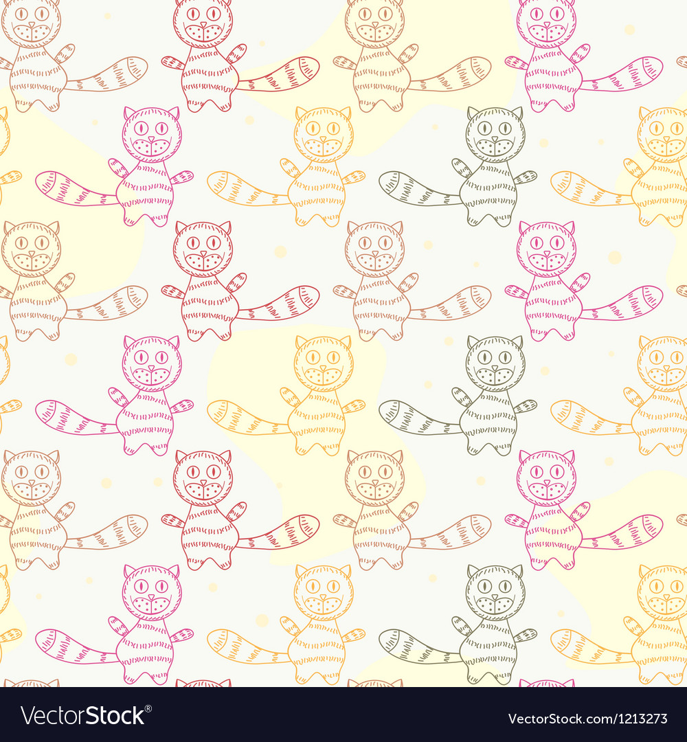 Seamless pattern with cat silholuettes vector | Price: 1 Credit (USD $1)